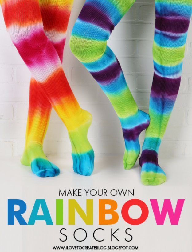 Crafts to Make and Sell - Make Your Own Rainbow Socks - Cool and Cheap Craft Projects and DIY Ideas for Teens and Adults to Make and Sell - Fun, Cool and Creative Ways for Teenagers to Make Money Selling Stuff to Make #teencrafts #diyideas #craftstosell