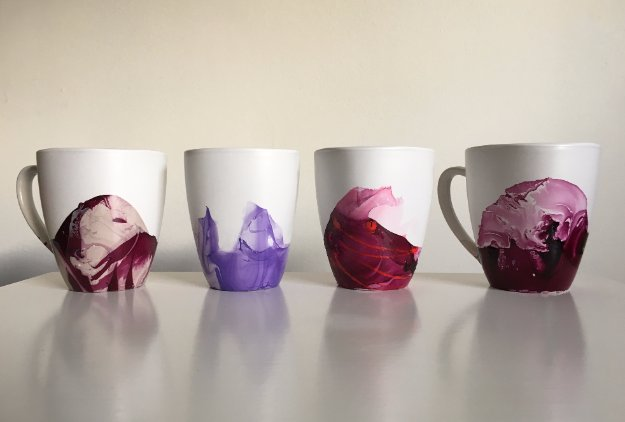 Crafts to Make and Sell - Marble Mugs Using Nail Polish - Cool and Cheap Craft Projects and DIY Ideas for Teens and Adults to Make and Sell - Fun, Cool and Creative Ways for Teenagers to Make Money Selling Stuff to Make http://diyprojectsforteens.com/crafts-to-make-and-sell-for-teens