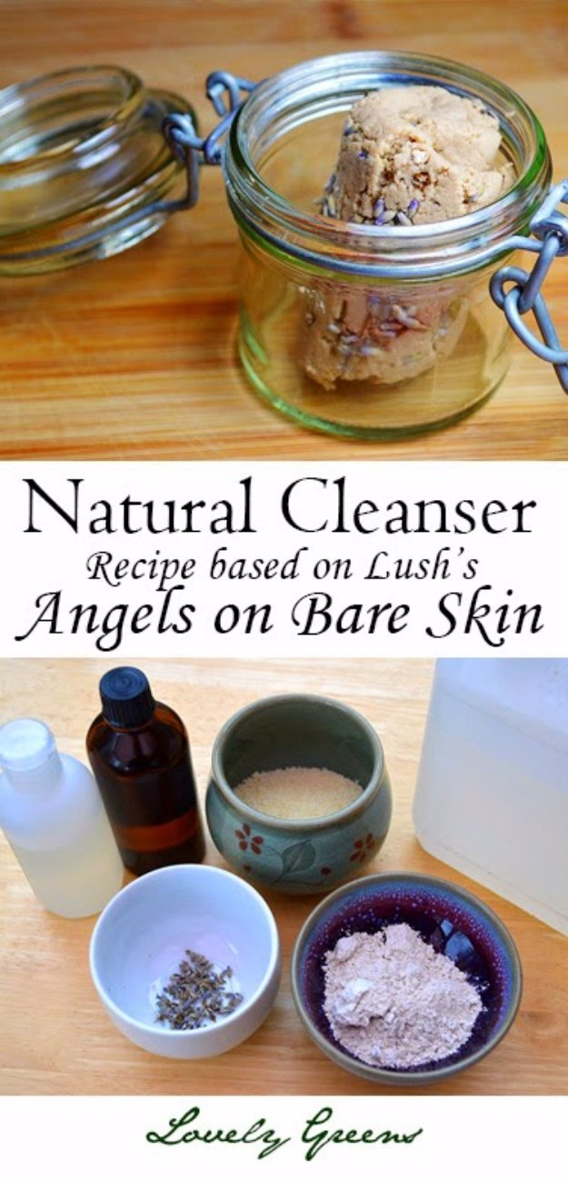 DIY Lush Inspired Recipes - Natural Cleanser Recipe Based on Lush's Angels on Bare Skin - How to Make Lush Products like Bath Bombs, Face Masks, Lip Scrub, Bubble Bars, Dry Shampoo and Hair Conditioner, Shower Jelly, Lotion, Soap, Toner and Moisturizer. Copycat and Dupes of Ocean Salt, Buffy, Dark Angels, Rub Rub Rub, Big, Dream Cream and More. http://diyprojectsforteens.com/diy-lush-copycat-recipes