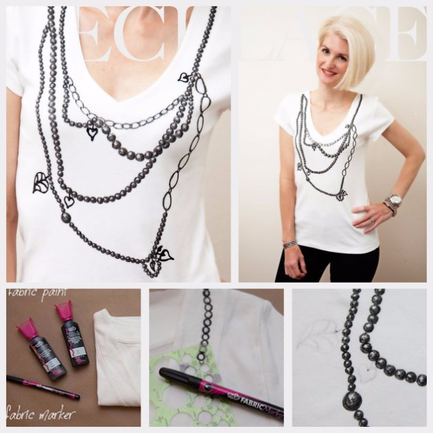 T-Shirt Makeovers - Necklace T-Shirt DIY - Awesome Way to Upcycle Tees - Cool No Sew Tshirt Cutting Tutorials, Simple Summer Cutouts, How To Make Halter Tops and T-Shirt Dresses. Easy Tutorials and Instructions for Teens and Adults #tshircrafts #teenclothes #teenfashion #teendiy #teencrafts