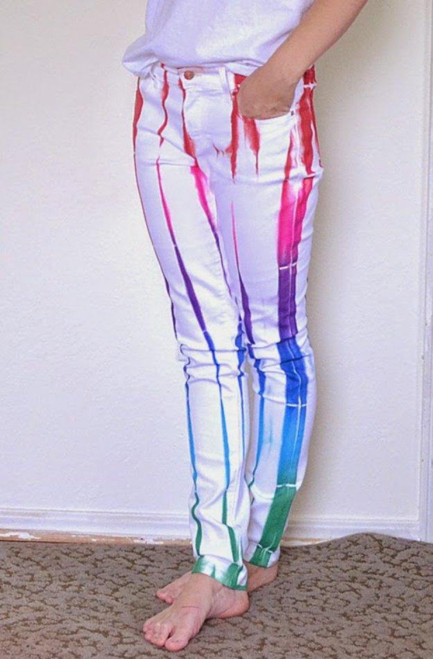 Random Rainbow White Jeans