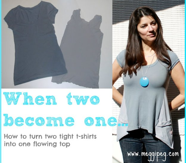 T-Shirt Makeovers - Refashion Two T-Shirts Into One Flowing Top - Awesome Way to Upcycle Tees - Cool No Sew Tshirt Cutting Tutorials, Simple Summer Cutouts, How To Make Halter Tops and T-Shirt Dresses. Easy Tutorials and Instructions for Teens and Adults #tshircrafts #teenclothes #teenfashion #teendiy #teencrafts