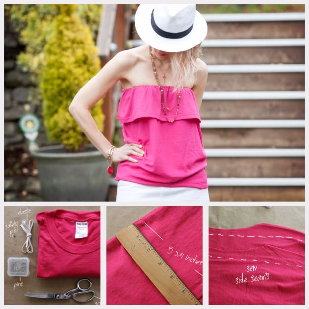 T-Shirt Makeovers - Refashioned Ruffled Tube Top From a T-Shirt - Awesome Way to Upcycle Tees - Cool No Sew Tshirt Cutting Tutorials, Simple Summer Cutouts, How To Make Halter Tops and T-Shirt Dresses. Easy Tutorials and Instructions for Teens and Adults #tshircrafts #teenclothes #teenfashion #teendiy #teencrafts