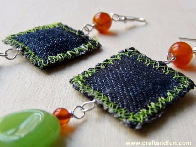 DIY Crafts with Old Denim Jeans - Repurposed Denim Earrings  - Cool Projects and Fashion You Can Make With Old Jeans - Fun Crafts for Teens and Adults, Inexpensive Ones!
