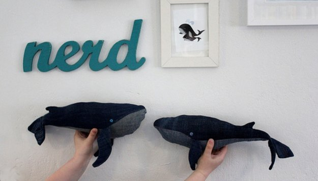 DIY Crafts with Old Denim Jeans - Repurposed Denim Whale Stuffed Toy  - Cool Projects and Fashion You Can Make With Old Jeans - Fun Crafts for Teens and Adults, Inexpensive Ones!