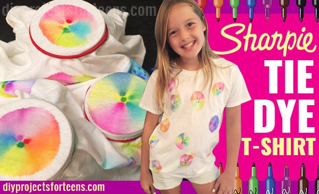 T-Shirt Makeovers - Sharpie Tie Die T-Shirt - Awesome Way to Upcycle Tees - Cool No Sew Tshirt Cutting Tutorials, Simple Summer Cutouts, How To Make Halter Tops and T-Shirt Dresses. Easy Tutorials and Instructions for Teens and Adults #tshircrafts #teenclothes #teenfashion #teendiy #teencrafts