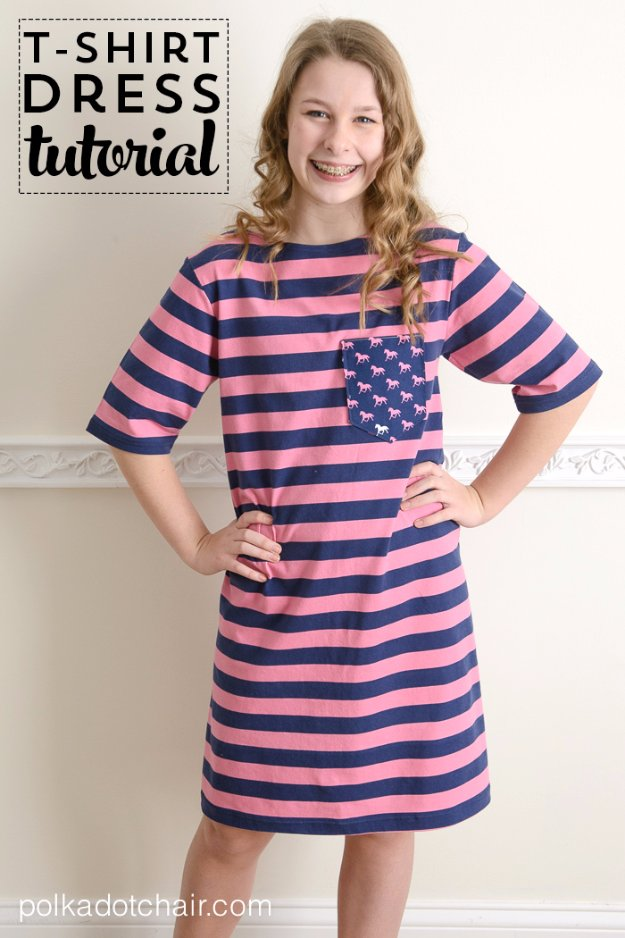 T-Shirt Makeovers - T-Shirt Dress Tutorial - Awesome Way to Upcycle Tees - Cool No Sew Tshirt Cutting Tutorials, Simple Summer Cutouts, How To Make Halter Tops and T-Shirt Dresses. Easy Tutorials and Instructions for Teens and Adults #tshircrafts #teenclothes #teenfashion #teendiy #teencrafts