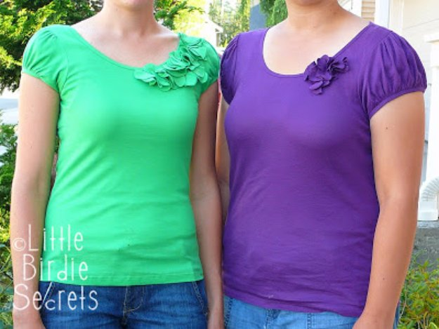 T-Shirt Makeovers - T-Shirt Refashion Flower Necklines - Awesome Way to Upcycle Tees - Cool No Sew Tshirt Cutting Tutorials, Simple Summer Cutouts, How To Make Halter Tops and T-Shirt Dresses. Easy Tutorials and Instructions for Teens and Adults #tshircrafts #teenclothes #teenfashion #teendiy #teencrafts