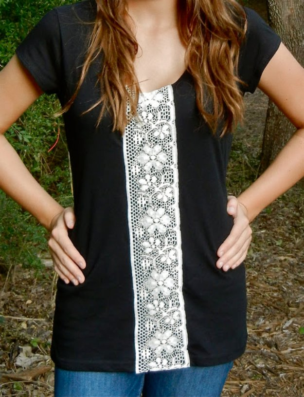 T-Shirt Makeovers - T-Shirt Refashioned with Lacy Front - Awesome Way to Upcycle Tees - Cool No Sew Tshirt Cutting Tutorials, Simple Summer Cutouts, How To Make Halter Tops and T-Shirt Dresses. Easy Tutorials and Instructions for Teens and Adults #tshircrafts #teenclothes #teenfashion #teendiy #teencrafts
