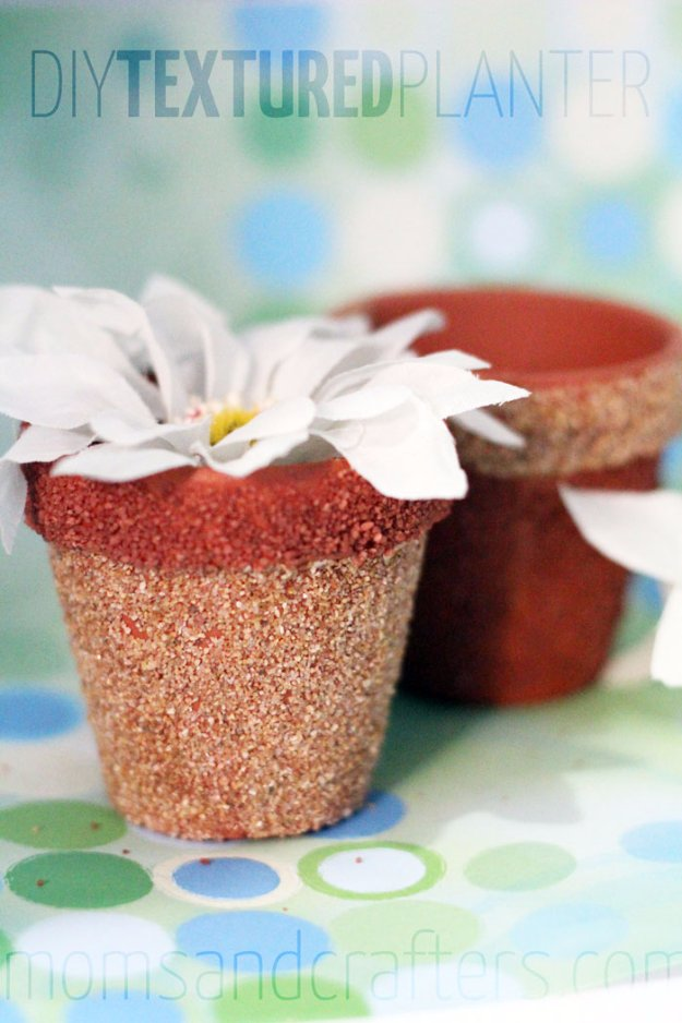 Crafts to Make and Sell - Textured DIY Flower Pots - Cool and Cheap Craft Projects and DIY Ideas for Teens and Adults to Make and Sell - Fun, Cool and Creative Ways for Teenagers to Make Money Selling Stuff to Make #teencrafts #diyideas #craftstosell