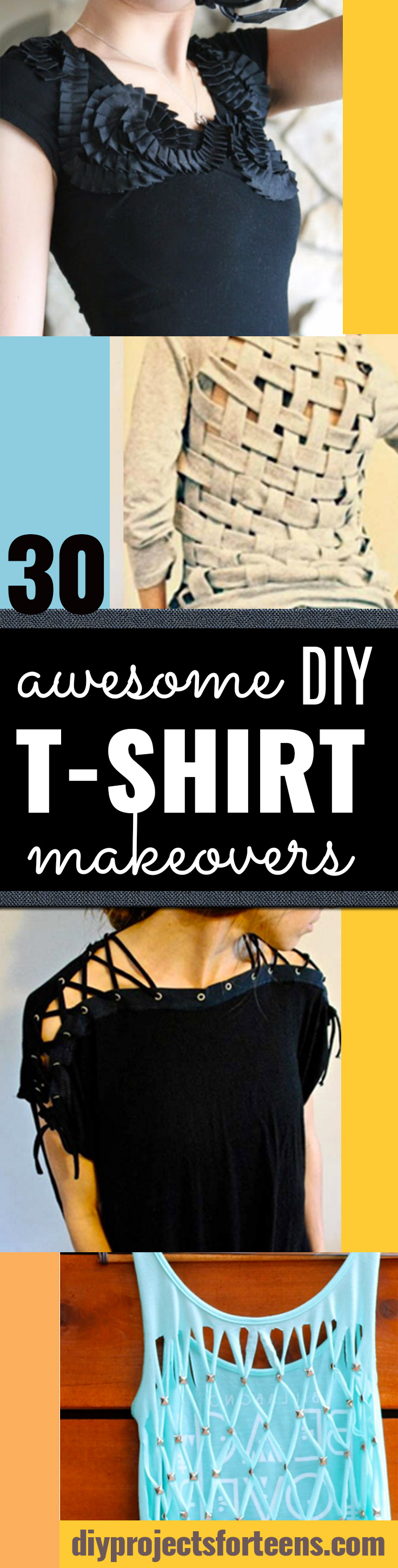 DIY T-Shirt Makeovers - Awesome Way to Upcycle Tees - Cool No Sew Tshirt Cutting Tutorials, Simple Summer Cutouts, How To Make Halter Tops and T-Shirt Dresses. Easy Tutorials and Instructions for Teens and Adults #tshircrafts #teenclothes #teenfashion #teendiy #teencrafts