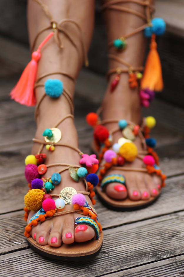 DIY Shoe Makeovers - Boho Chic Gladiator Sandals - Cool Ways to Update, Decorate, Paint, Bedazle and Add Sparkle to Your Flats, Pumps, Tennis Shoes, Boots and Boring Shoes - Cool Crafts and DIY Shoe Ideas for Teens and Adults http://diyprojectsforteens.com/diy-shoe-makeovers
