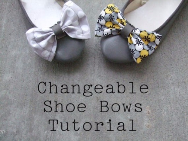 DIY Shoe Makeovers - Changeable Shoe Bows Tutorial - Cool Ways to Update, Decorate, Paint, Bedazle and Add Sparkle to Your Flats, Pumps, Tennis Shoes, Boots and Boring Shoes - Cool Crafts and DIY Shoe Ideas for Teens and Adults