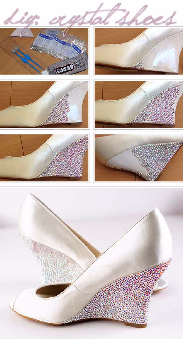 DIY Shoe Makeovers - DIY Crystal Shoes - Cool Ways to Update, Decorate, Paint, Bedazle and Add Sparkle to Your Flats, Pumps, Tennis Shoes, Boots and Boring Shoes - Cool Crafts and DIY Shoe Ideas for Teens and Adults