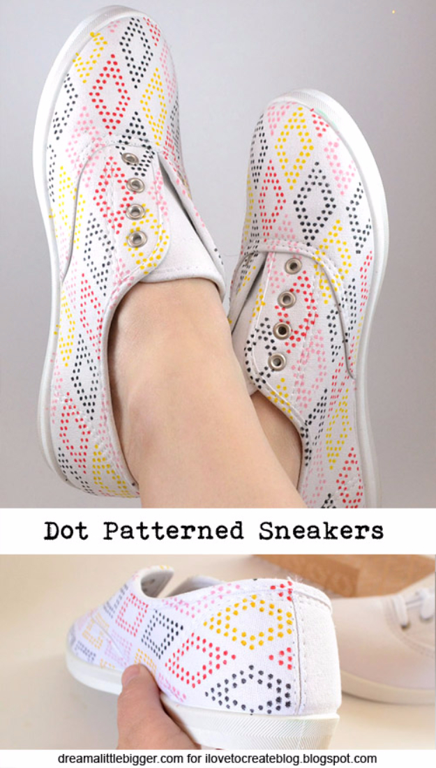 DIY Shoe Makeovers - DIY Dot Patterned Sneakers - Cool Ways to Update, Decorate, Paint, Bedazle and Add Sparkle to Your Flats, Pumps, Tennis Shoes, Boots and Boring Shoes - Cool Crafts and DIY Shoe Ideas for Teens and Adults http://diyprojectsforteens.com/diy-shoe-makeovers