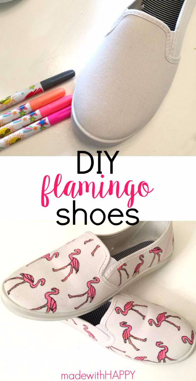 DIY Shoe Makeovers - DIY Flamingo Shoes - Cool Ways to Update, Decorate, Paint, Bedazle and Add Sparkle to Your Flats, Pumps, Tennis Shoes, Boots and Boring Shoes - Cool Crafts and DIY Shoe Ideas for Teens and Adults http://diyprojectsforteens.com/diy-shoe-makeovers