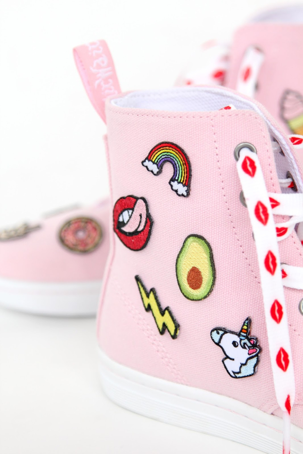 DIY Shoe Makeovers - DIY Patch Patterned Sneakers- Cool Ways to Update, Decorate, Paint, Bedazle and Add Sparkle to Your Flats, Pumps, Tennis Shoes, Boots and Boring Shoes - Cool Crafts and DIY Shoe Ideas for Teens and Adults