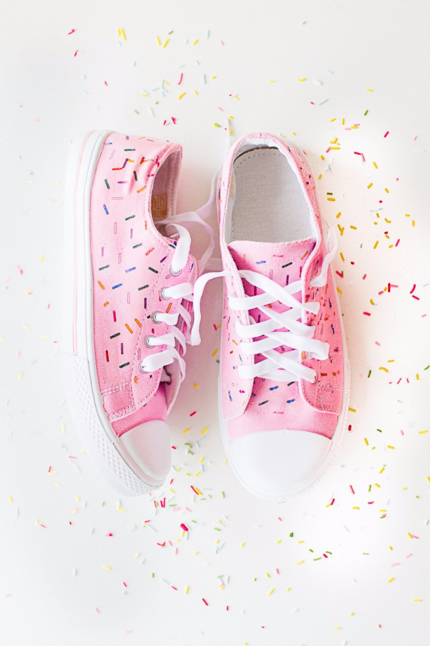 DIY Shoe Makeovers - DIY Sprinkle Sneakers - Cool Ways to Update, Decorate, Paint, Bedazle and Add Sparkle to Your Flats, Pumps, Tennis Shoes, Boots and Boring Shoes - Cool Crafts and DIY Shoe Ideas for Teens and Adults http://diyprojectsforteens.com/diy-shoe-makeovers