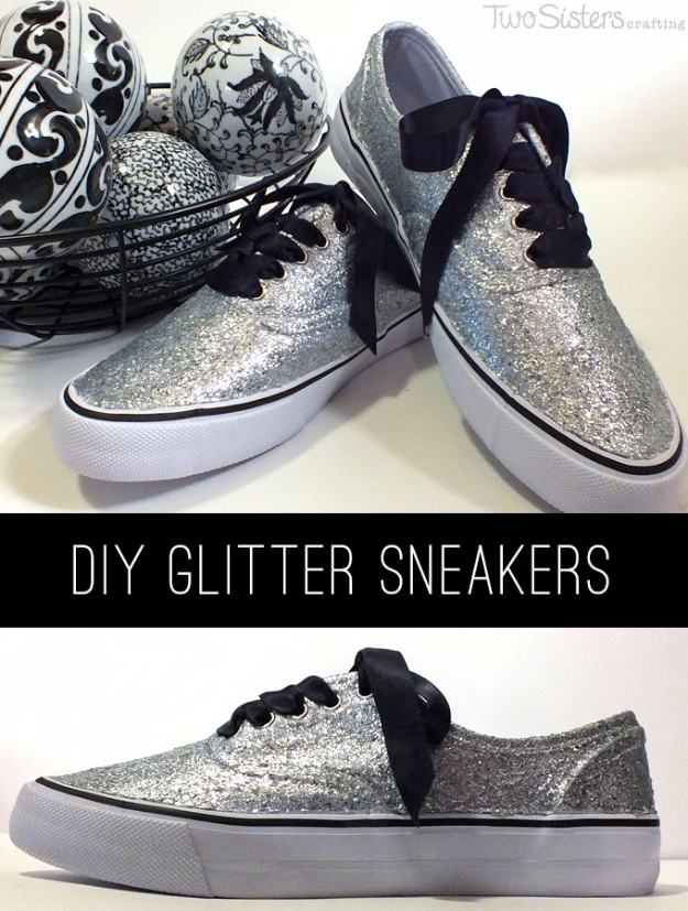 DIY Shoe Makeovers - Glitter Sneakers - Cool Ways to Update, Decorate, Paint, Bedazle and Add Sparkle to Your Flats, Pumps, Tennis Shoes, Boots and Boring Shoes - Cool Crafts and DIY Shoe Ideas for Teens and Adults http://diyprojectsforteens.com/diy-shoe-makeovers