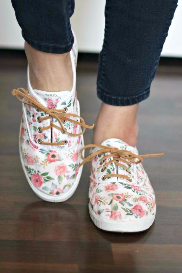 DIY Shoe Makeovers - Iron On Floral Patterned DIY Shoes - Cool Ways to Update, Decorate, Paint, Bedazle and Add Sparkle to Your Flats, Pumps, Tennis Shoes, Boots and Boring Shoes - Cool Crafts and DIY Shoe Ideas for Teens and Adults http://diyprojectsforteens.com/diy-shoe-makeovers