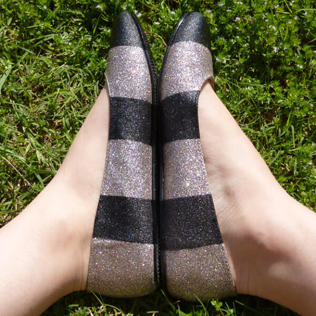 DIY Shoe Makeovers - Jailhouse Striped Glitter Shoes - Cool Ways to Update, Decorate, Paint, Bedazle and Add Sparkle to Your Flats, Pumps, Tennis Shoes, Boots and Boring Shoes - Cool Crafts and DIY Shoe Ideas for Teens and Adults
