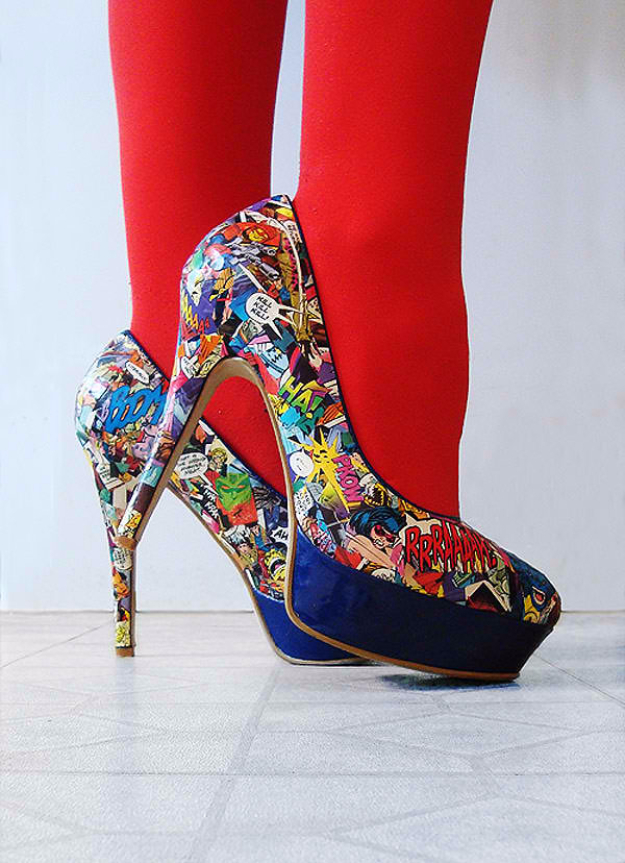 DIY Shoe Makeovers - Killer DIY Comic Strip High Heels - Cool Ways to Update, Decorate, Paint, Bedazle and Add Sparkle to Your Flats, Pumps, Tennis Shoes, Boots and Boring Shoes - Cool Crafts and DIY Shoe Ideas for Teens and Adults http://diyprojectsforteens.com/diy-shoe-makeovers