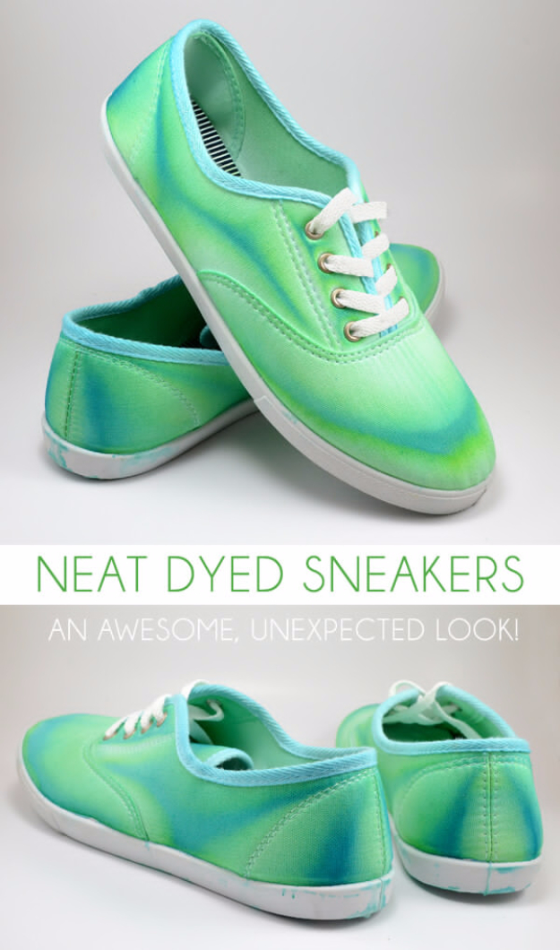 DIY Shoe Makeovers - Neat Dyed Sneakers - Cool Ways to Update, Decorate, Paint, Bedazle and Add Sparkle to Your Flats, Pumps, Tennis Shoes, Boots and Boring Shoes - Cool Crafts and DIY Shoe Ideas for Teens and Adults http://diyprojectsforteens.com/diy-shoe-makeovers