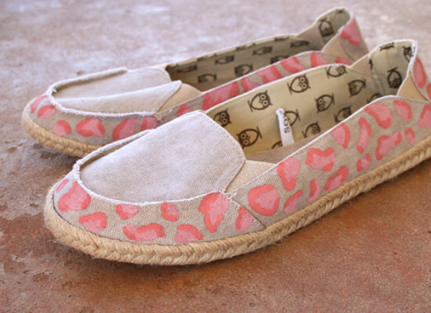 DIY Shoe Makeovers - Pink Cheetah Espadrille Makeover - Cool Ways to Update, Decorate, Paint, Bedazle and Add Sparkle to Your Flats, Pumps, Tennis Shoes, Boots and Boring Shoes - Cool Crafts and DIY Shoe Ideas for Teens and Adults