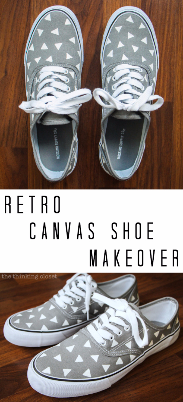 DIY Shoe Makeovers - Retro Canvas Shoe Makeover - Cool Ways to Update, Decorate, Paint, Bedazle and Add Sparkle to Your Flats, Pumps, Tennis Shoes, Boots and Boring Shoes - Cool Crafts and DIY Shoe Ideas for Teens and Adults http://diyprojectsforteens.com/diy-shoe-makeovers