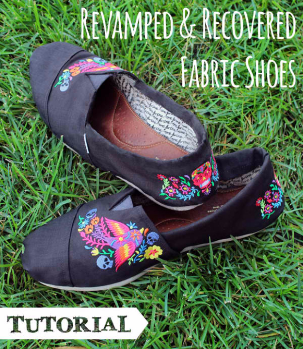DIY Shoe Makeovers - Revamped And Recovered Fabric Shoes - Cool Ways to Update, Decorate, Paint, Bedazle and Add Sparkle to Your Flats, Pumps, Tennis Shoes, Boots and Boring Shoes - Cool Crafts and DIY Shoe Ideas for Teens and Adults http://diyprojectsforteens.com/diy-shoe-makeovers