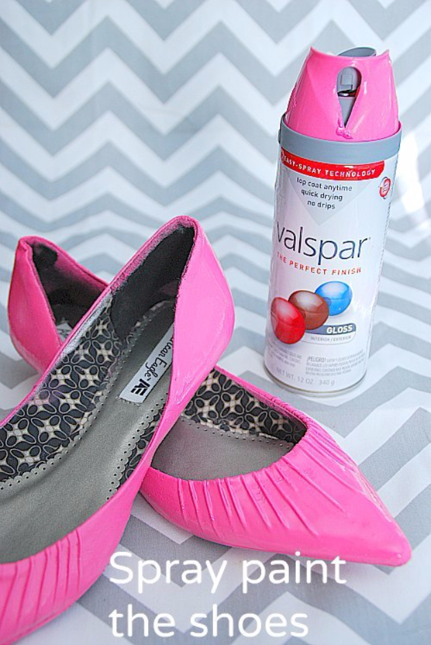DIY Shoe Makeovers - Spray Painted Shoe Makeover - Cool Ways to Update, Decorate, Paint, Bedazle and Add Sparkle to Your Flats, Pumps, Tennis Shoes, Boots and Boring Shoes - Cool Crafts and DIY Shoe Ideas for Teens and Adults http://diyprojectsforteens.com/diy-shoe-makeovers
