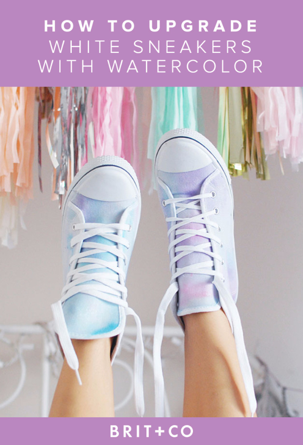 956fbc15721f DIY Shoe Makeovers - Watercolor Sneakers - Cool Ways to Update