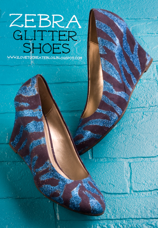 DIY Shoe Makeovers - Zebra Glitter Shoes - Cool Ways to Update, Decorate, Paint, Bedazle and Add Sparkle to Your Flats, Pumps, Tennis Shoes, Boots and Boring Shoes - Cool Crafts and DIY Shoe Ideas for Teens and Adults http://diyprojectsforteens.com/diy-shoe-makeovers