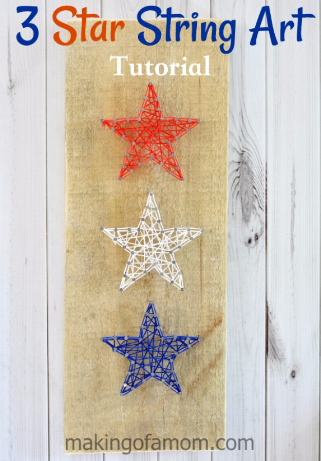 DIY String Art Projects - 3 Star String Art - Cool, Fun and Easy Letters, Patterns and Wall Art Tutorials for String Art - How to Make Names, Words, Hearts and State Art for Room Decor and DIY Gifts - fun Crafts and DIY Ideas for Teens and Adults #diyideas #stringart #teencrafts #crafts