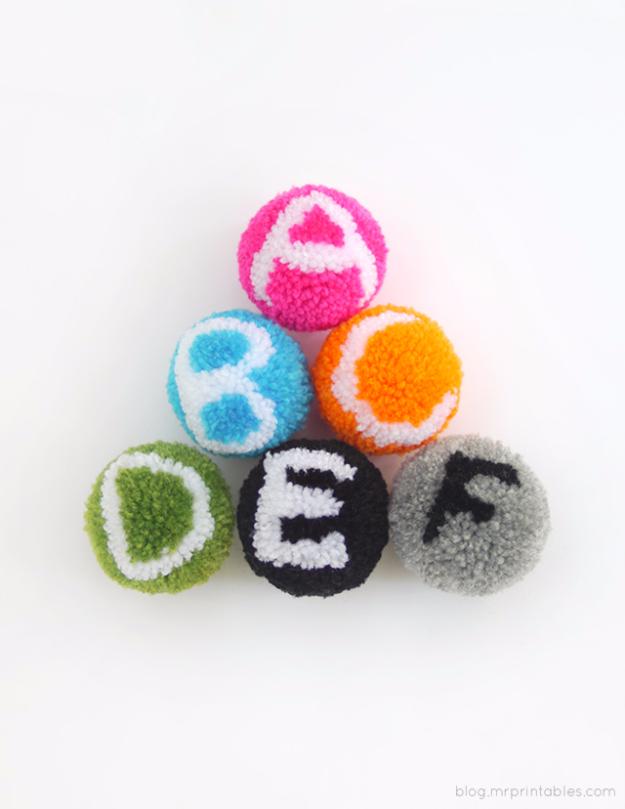 DIY Crafts with Pom Poms - Alphabet Pom Pom Tutorial - Fun Yarn Pom Pom Crafts Ideas. Garlands, Rug and Hat Tutorials, Easy Pom Pom Projects for Your Room Decor and Gifts http://diyprojectsforteens.com/diy-crafts-pom-poms
