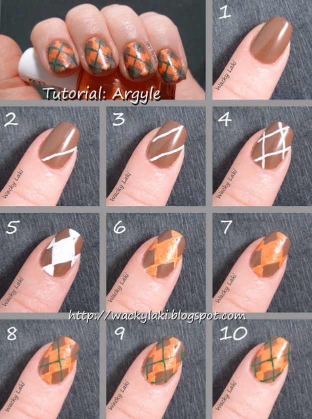 Awesome Nail Art Patterns And Ideas - Argyle Nail Art - Step by Step DIY Nail Design Tutorials for Simple Art, Tribal Prints, Best Black and White Manicures. Easy and Fun Colors, Shapes and Designs for Your Nails http://diyprojectsforteens.com/best-nail-art-patterns-tutorials