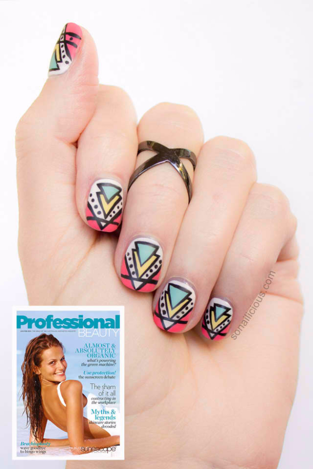 Awesome Nail Art Patterns And Ideas - Aztec Nail Art Tutorial - Step by Step DIY Nail Design Tutorials for Simple Art, Tribal Prints, Best Black and White Manicures. Easy and Fun Colors, Shapes and Designs for Your Nails http://diyprojectsforteens.com/best-nail-art-patterns-tutorials