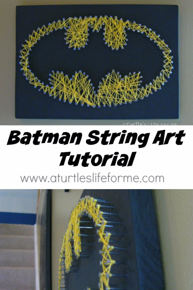 DIY String Art Projects - Batman String Art Tutorial - Cool, Fun and Easy Letters, Patterns and Wall Art Tutorials for String Art - How to Make Names, Words, Hearts and State Art for Room Decor and DIY Gifts - fun Crafts and DIY Ideas for Teens and Adults http://diyprojectsforteens.com/diy-string-art-projects