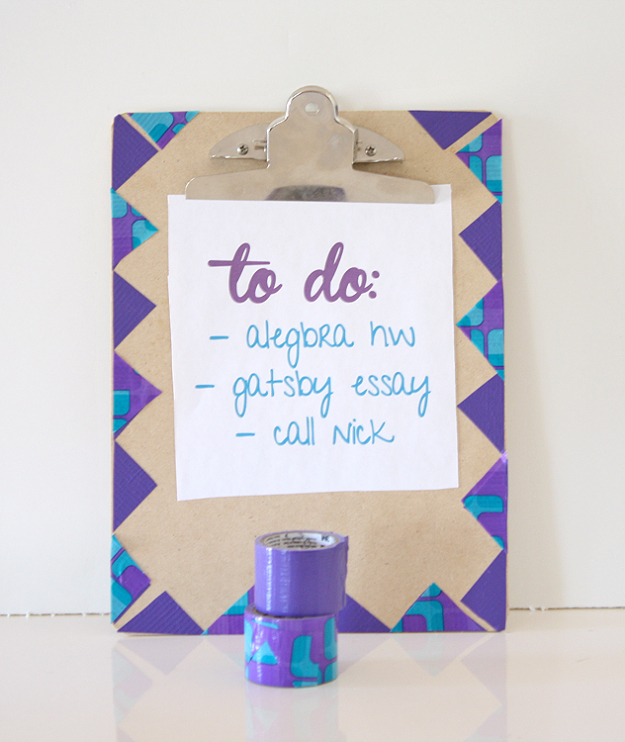 DIY School Supplies You Need For Back To School - Clip Board Makeover - Cuter, Cool and Easy Projects for Teens, Tweens and Kids to Make for Middle School and High School. Fun Ideas for Backpacks, Pencils, Notebooks, Organizers, Binders #diyschoolsupplies #backtoschool #teencrafts