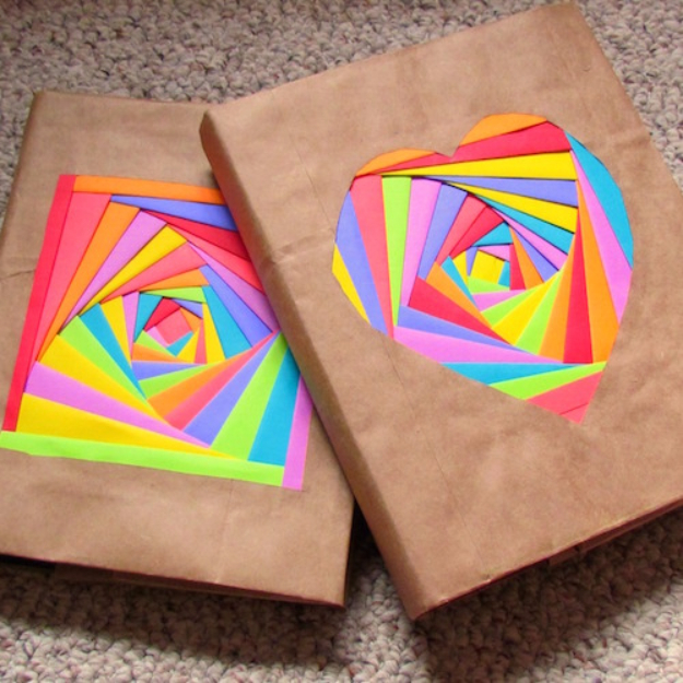 DIY School Supplies You Need For Back To School - Colorful Bookcovers - Cuter, Cool and Easy Projects for Teens, Tweens and Kids to Make for Middle School and High School. Fun Ideas for Backpacks, Pencils, Notebooks, Organizers, Binders #diyschoolsupplies #backtoschool #teencrafts