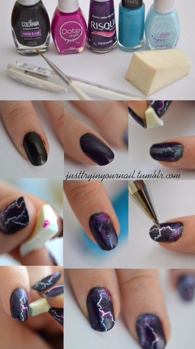 Awesome Nail Art Patterns And Ideas - Cool Lightning Nails - Step by Step DIY Nail Design Tutorials for Simple Art, Tribal Prints, Best Black and White Manicures. Easy and Fun Colors, Shapes and Designs for Your Nails http://diyprojectsforteens.com/best-nail-art-patterns-tutorials