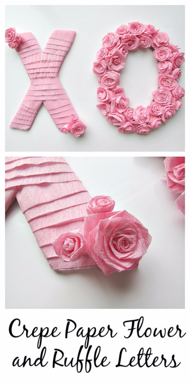 DIY Wall Letters and Initals Wall Art - Crepe Paper Flowers And Ruffle Letters - Cool Architectural Letter Projects for Living Room Decor, Bedroom Ideas. Girl or Boy Nursery. Paint, Glitter, String Art, Easy Cardboard and Rustic Wooden Ideas http://diyprojectsforteens.com/diy-projects-with-letters-wall
