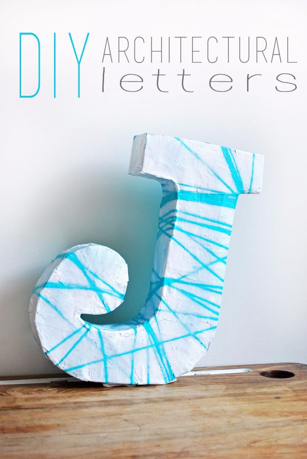 DIY Wall Letters and Initals Wall Art - DIY Architectural Letter - Cool Architectural Letter Projects for Living Room Decor, Bedroom Ideas. Girl or Boy Nursery. Paint, Glitter, String Art, Easy Cardboard and Rustic Wooden Ideas