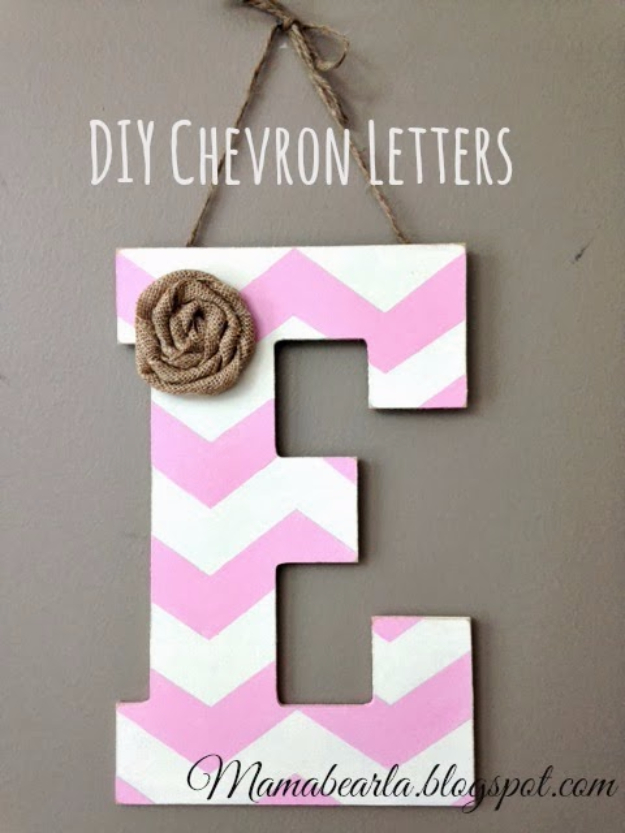 DIY Wall Letters and Initals Wall Art - DIY Chevron Letters - Cool Architectural Letter Projects for Living Room Decor, Bedroom Ideas. Girl or Boy Nursery. Paint, Glitter, String Art, Easy Cardboard and Rustic Wooden Ideas