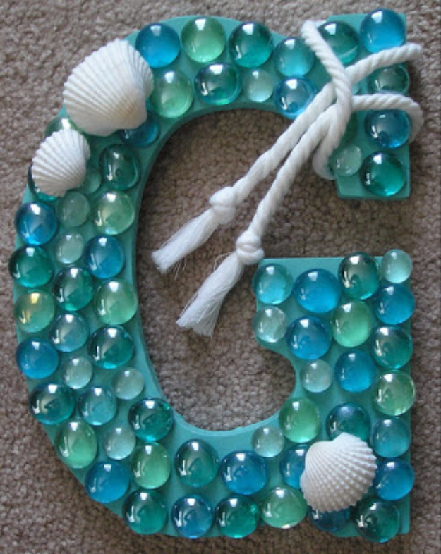 DIY Wall Letters and Initals Wall Art - DIY Coastal Letter - Cool Architectural Letter Projects for Living Room Decor, Bedroom Ideas. Girl or Boy Nursery. Paint, Glitter, String Art, Easy Cardboard and Rustic Wooden Ideas
