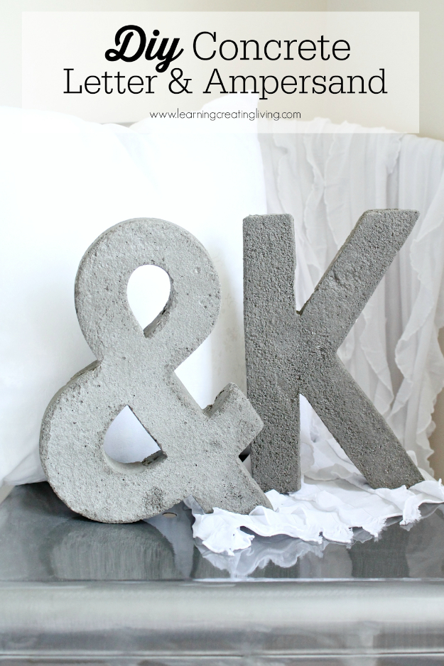 DIY Wall Letters and Initals Wall Art - DIY Concrete Letter & Ampersand - Cool Architectural Letter Projects for Living Room Decor, Bedroom Ideas. Girl or Boy Nursery. Paint, Glitter, String Art, Easy Cardboard and Rustic Wooden Ideas http://diyprojectsforteens.com/diy-projects-with-letters-wall