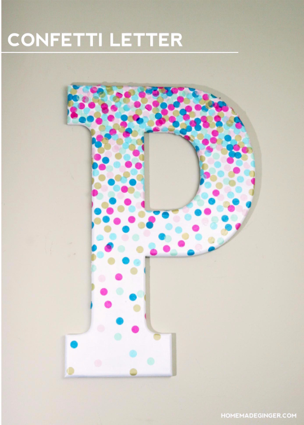 DIY Wall Letters and Initals Wall Art - DIY Confetti Letter - Cool Architectural Letter Projects for Living Room Decor, Bedroom Ideas. Girl or Boy Nursery. Paint, Glitter, String Art, Easy Cardboard and Rustic Wooden Ideas
