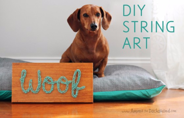 DIY String Art Projects - DIY Dog String Art - Cool, Fun and Easy Letters, Patterns and Wall Art Tutorials for String Art - How to Make Names, Words, Hearts and State Art for Room Decor and DIY Gifts - fun Crafts and DIY Ideas for Teens and Adults http://diyprojectsforteens.com/diy-string-art-projects