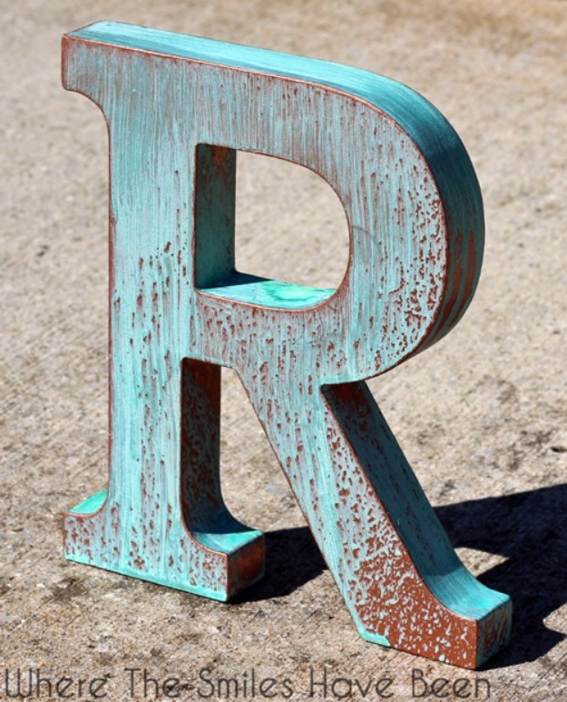 DIY Wall Letters and Initals Wall Art - DIY Faux Copper Letter Aged With Blue Patina - Cool Architectural Letter Projects for Living Room Decor, Bedroom Ideas. Girl or Boy Nursery. Paint, Glitter, String Art, Easy Cardboard and Rustic Wooden Ideas