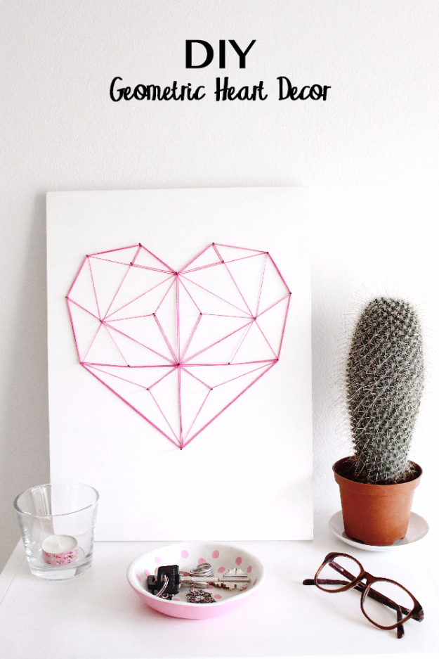 DIY String Art Projects - DIY Geometric String Heart - Cool, Fun and Easy Letters, Patterns and Wall Art Tutorials for String Art - How to Make Names, Words, Hearts and State Art for Room Decor and DIY Gifts - fun Crafts and DIY Ideas for Teens and Adults #diyideas #stringart #teencrafts #crafts